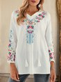 White V Neck Long Sleeve Embroidered  Top