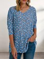 Blue Shift V Neck Long Sleeve Casual Star Printed Top