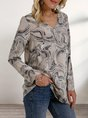 Gray Shift Casual Abstract Top