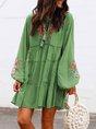 Plus Size Long Sleeve Floral Tassel Charm Elegant Casual Mini Dress
