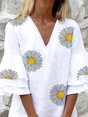 V Neck Cotton Floral-Print Casual Dress