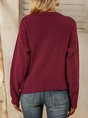 Red V Neck Casual Sweater