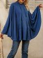 Blue Plain A-Line Batwing Top
