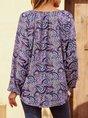 Purple Long Sleeve Printed Tribal V Neck Top