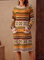 Tribal Crew Neck Shift Long Sleeve Sweater