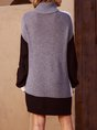 Gray Long Sleeve Shift Knitted Turtleneck Sweater