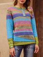 Blue Crew Neck Stripes Long Sleeve Sweater