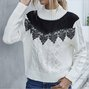 Lace Embellished Contrast Color Crew-Neck Sweater