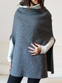 Turtleneck Batwing Casual Solid Top