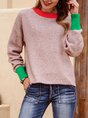 Red long-sleeved contrast sweater