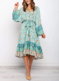 V Neck  Holiday Vintage  Midi Dress