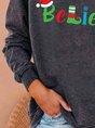 Navy Green Believe Christmas Sweatshirt