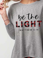 Be The Light Mattew 5:14 Print Plaid Stitching Top