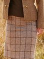 Khaki Geometric Vintage A-Line Skirt