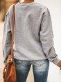 Wine Glass Christmas Hat Print Long Sleeve Sweatshirt