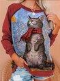 Gray Christmas Long Sleeve  CAT Print Sweatshirt