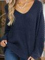 Blue Plain V Neck Vintage Knitted Sweater