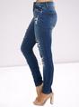 British Plaid Stitching Ripped Skinny Denim Trousers