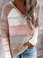 Multicolor Patchwork Long Sleeve Hoodie Sweater