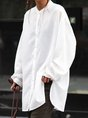 Casual Plain Long Sleeve Shirt Collar Blouse