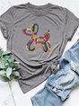 Print Round Neck Casual Loose T-shirt
