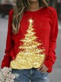Red Christmas  Long Sleeve Crew Neck Top