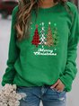 Plus Size Crew Neck Vintage Christmas Long Sleeve Top