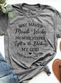 Print Grey Round Neck Short Sleeve T-shirt