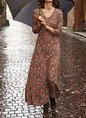 Red Casual Floral Long Sleeve Dress