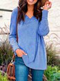 Khaki Long Sleeve V Neck Cotton-Blend Top