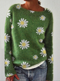 Green Crew Neck Floral Vintage Sweater