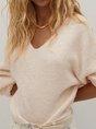 Wool Blend Long Sleeve V Neck Sweater