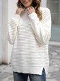 White Plain Casual Long Sleeve Turtleneck Sweater