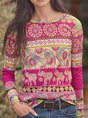 Cotton-Blend Printed Floral Long Sleeve Top