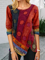 Abstract Long Sleeve Vintage Shift Top
