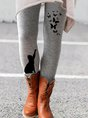 Casual Winter Floral-print Pants