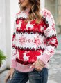 Red Christmas Crew Neck  Long Sleeve Sweater
