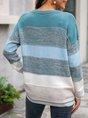 Blue Casual Crew Neck Sweater