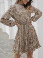Khaki Leopard  Fibre Long Sleeve Dress