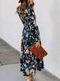 V Neck Printed Floral Midi Dress