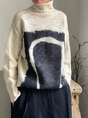 Knitted Patchwork Turtleneck Long Sleeve Sweater