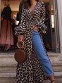 V Neck Party Leopard Maxi Dress