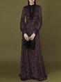 Long Sleeve Elegant Jacquard Maxi Dress