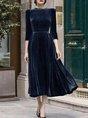 A-Line Formal Solid Midi Dress