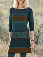 Green Round Neck Long Sleeve Floral Printed Plus Size Dress