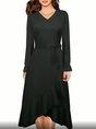 V Neck Asymmetrical Daily Midi Dress
