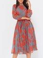 A-Line Elegant Printed Midi Dress