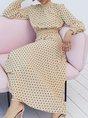 Stand Collar Formal Polka Dots Midi Dress