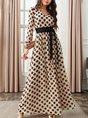 V Neck Vintage Polka Dots Maxi Dress