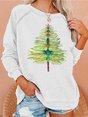 Women's Dragonfly Christmas Tree Print Sweatshirt